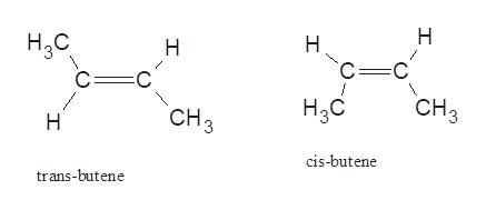 Н H,с C C Н H C= CHз Hас CHз Н cis-butene trans-butene