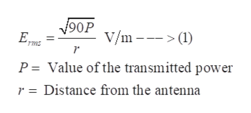 V90P Ep V/m () ms P = Value of the transmitted power r = Distance from the antenna