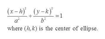 )(y-k (x-h a2 where (h,k) is the center of ellipse