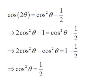 1 cos (20) cos' 0 2 2 cos20- cos'0- 2 2cos2 0-cos20=1- 2 1 cos20 2