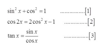 sin2 x cos cos 2x 2 cos2 x-1 --12] sinx 3] tan x cos.x