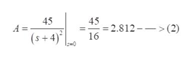 45 45 -2.812- (2) 16 A = (s+4)