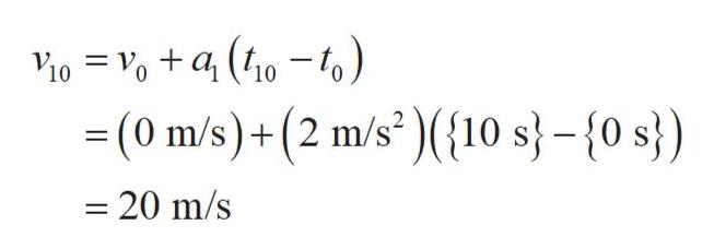 10 10 (0 m/s)+(2 m/s(10 s}-{0 s}) - 20 m/s