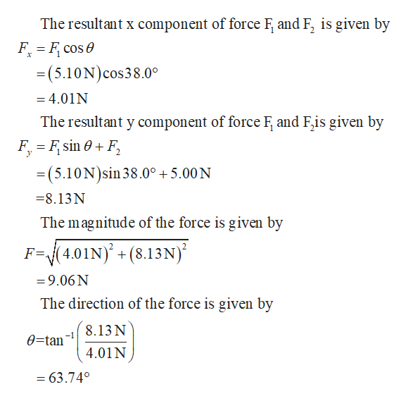 The resultant x component of force F and F, is given by F F cose =(5.10N) cos38.0° =4.01N The resultant y component of force F and F,is given by F F sin 0F = (5.10N)sin 38.0° 5.00 N =8.13N The magnitude of the force is given by (4.01N) + (8.13N) F=A =9.06N The direction of the force is given by 8.13 N 0=tan 4.01 N = 63.740