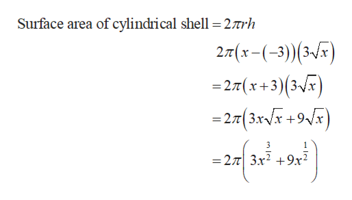 Surface area of cylindrical shell =27rh 2T(x-(-3)) (3-) =27(x+3) (3x) = 27t( 3XVX +9Vx 3 1 =27 3x2 9x2