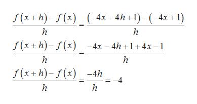 Г(*+h)-/(:) _(-4х-4h+1)-(-4х +1) h S(*+h)-/(х) _-4х - 4h +1+4х-1 h h Г(x+h)-г(х) -4h =-4 h