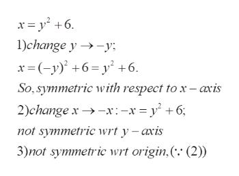 xy 6 1)change y -y x(-y6=y +6 So, symmetric with respect to x - axis x:-x=y^ +6; 2)change x not symmetric wrt y -axis 3)not symmetric wrt origin,( (2))