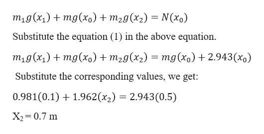 m1g(x1)mg(X0) + m2g(x2) = N(x0) Substitute the equation (1) in the above equation mig (x1)mg(x) + m2g(x2) = mg(xo) 2.943(x Substitute the corresponding values, we get: 0.981(0.1)1.962(x2) = 2.943(0.5) X2 0.7 m