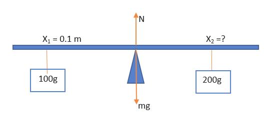 N X1 0.1 m X2 ? 100g 200g 'mg