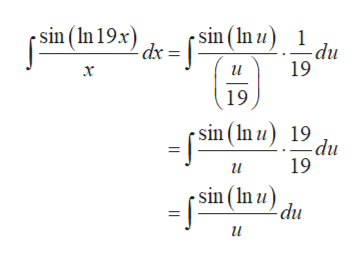 sin (In u) sin (In 19x 1 -du 19 x 19 rsin (In u) 19 -du 19 sin (In u) -du