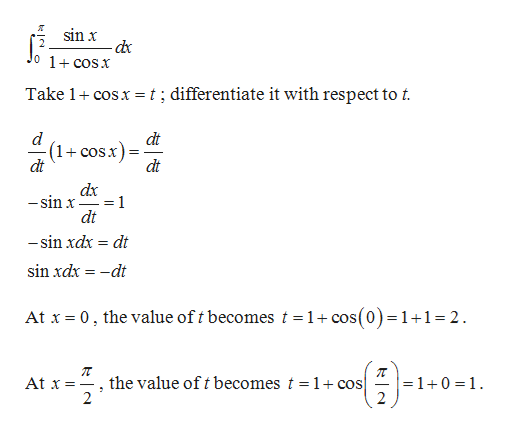 я sin x d 0 1+cosX Take 1 cosx= t; differentiate it with respect to t. d (1cosx) dt dt dt dx 1 -sin x dt -sin xdx dt sin xdx dt At x 0, the value of t becomes t =1+ cos(0)=1+1= 2 п the value oft becomes t = 1 +cos] 2 At x - =1+0 1 -