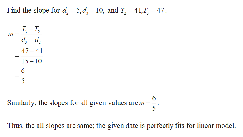 Find the slope for d, 5,d 10, and T, 41, 47 Т -Т, Т, т 3 2 р- р 47-41 1 15 10 5 6 Similarly, the slopes for all given values are m 5 Thus, the all slopes are same; the given date is perfectly fits for linear model.