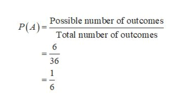 P(APossible number of outcomes Total number of outcomes 6 36 1 6
