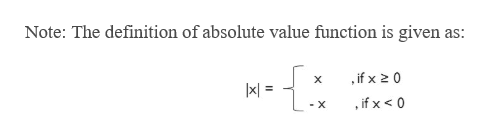 Note: The definition of absolute value function is given as: if x 2 0 if x < 0 - X