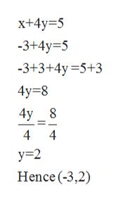x+4y 5 -3+4y 5 -3+3+4y=5+3 4y 8 4y 8 4 4 y 2 Hence (-3,2)