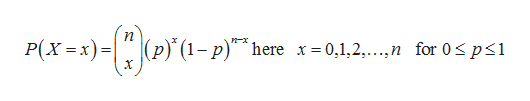 п P(X x) p) (1-p)^here x=0,1,2,...,n for 0s ps1