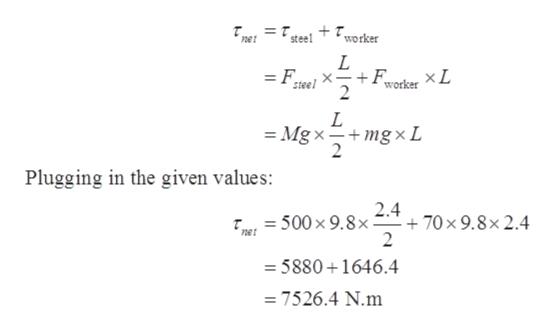 = t net steel worker L +Fworker X L 2 =F. steel L Mgx mgxL 2 Plugging in the given values: 2.4 70 x 9.8x2.4 2 500x 9.8x - 5880 1646.4 =7526.4 N.m