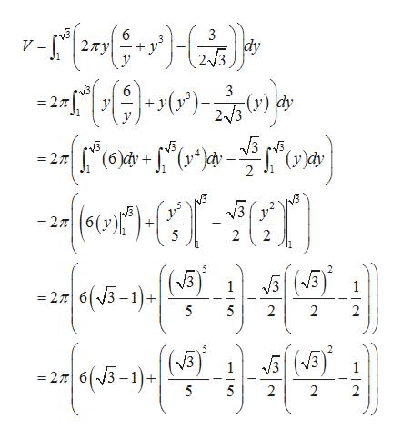 6 27Ty 3 dy 2/3 V = 3 (r); = 27 23) dy 1 (6)dy (y^^4y 27 2 =277 2 2 5 2 V3 33 1 1 |s(5-1) =27 6 5 5 2 2 2 2 (3 |(5-1)+ V3 1 2 6 5 5 2 2 2