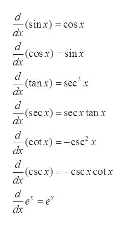 (sinx) cosx dx d (cos.x) sinx dx d (tan x) sec2 x dx (secx) secx tan x dx d (cot x)csc2x dx -(cscx)-cscxcotx dx 11 d e =e* dx