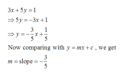 3x +5y 5y-3x1 3 y=- 1 Now comparing with y =mx +c, we get m slope = 5