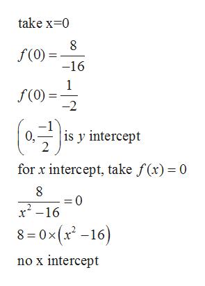 take x 0 8 f(0) = -16 1 f(0) -2 ( is y intercept 0, 2 for x intercept, take f(x)= 0 =0 x2-16 8 -0x(x2 -16) no x intercept