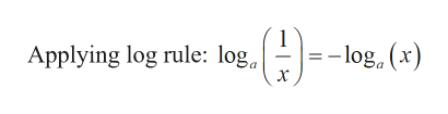 -log, (x) Applying log rule: log X