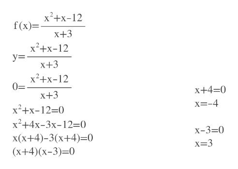 x2+x-12 f(x)= X+3 x2 у3 2 X+3 x2+x-12 0= X+4=0 X+3 x=-4 x2+x-12-0 х?+4x-3х-12-0 x(x+4)-3(x+4) 0 (X+4)(x-3)-0 X-3=0 x=3