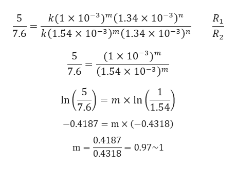 "k(1 x 103)m(1.34 x 103)"" k(1.54 x 10-3)m (1.34 x 10-3)"" 5 R2 7.6 (1 x 103)m (1.54 x 10-3)m 5 7.6 5 1 In = m x In (1.54) 7.6 -0.4187 = m x (-0.4318) 0.4187 0.97 1 m 0.4318"