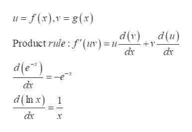 uf(x)v=g(x) (n)p dx dv)d(u) Product rule: f'(uv) =u- dx d(e) dx d(In x) 1 dx