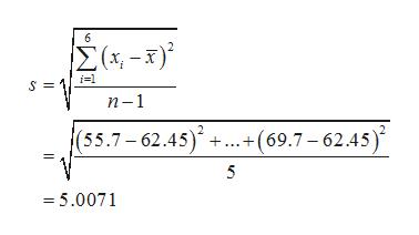 6 Σ(-) i1 п-1 |(55.7-62.45)++(69.7-62.45 =5.0071