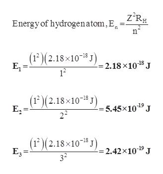 Energy of hydrogenatom,E =Z°R# n (12)(2.18x10 -2.18 x10 8 J E1 12 (12)(2.18x10 J5,45x10 J 22 (12)(2.18x10 J2.42x10* J E3 -18 32