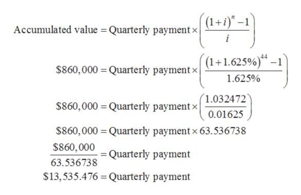 (1+1)-1 Accumulated value = Quarterly paymentx i 4 (1+1.625%) -1 $860,000 Quarterly paymentx 1.625% 1.032472 $860,000 Quarterly paymentx 0.01625 $860,000 Quarterly payment x 63.536738 $860,000 = Quarterly payment 63.536738 $13,535.476 Quarterly payment