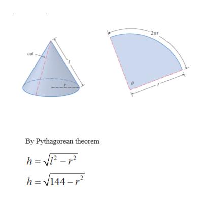 2mr cut By Pythagorean theorem h= 2 -2 h=144-2