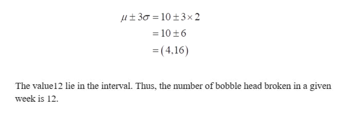 30 10+3 x2 = 10 +6 =(4,16) The value 12 lie in the interval. Thus, the number of bobble head broken in a given week is 12