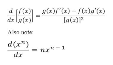 "g(x)f'(x)-f(x)g'(x) g (x)]2 d If (x) dx Lg(x) Also note: d nx"" -1 ') dx"