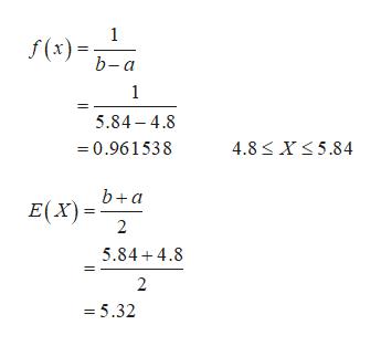 1 f (x) b-a 1 5.84-4.8 4.8 X 5.84 0.961538 b+a E(X) 5.84 4.8 2 =5.32