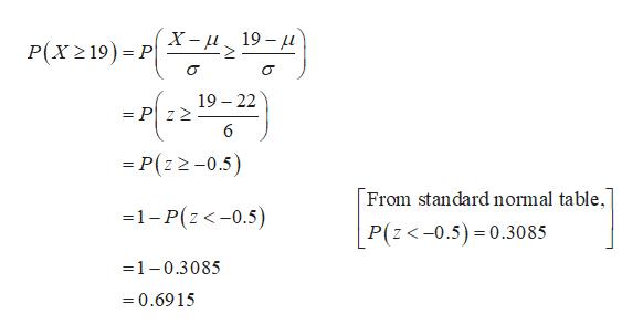 X-и 19—д Р(x 219) - Р| 19 22 = P z2 6 = P(z 2-0.5) From standard normal table, 1-P(z<-0.5) P(z<-0.5) 0.3085 1-0.3085 =0.6915
