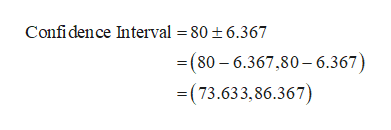 Confidence Interval = 80 t6.367 (80 6.367,80-6.367) (73.633,86.367)