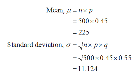 Mean, u %3D пхр = 500 x 0.45 - 225 Standard deviation, a = Vnx px q = V500 x0.45x 0.55 =11.124