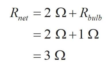 R,2Ω+,μb bulb net =2Ω+1Ω =3Ω
