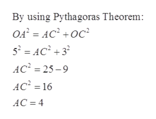 By using Pythagoras Theorem: OA AC2oc 52 AC23 AC2 25-9 AC2 16 AC 4