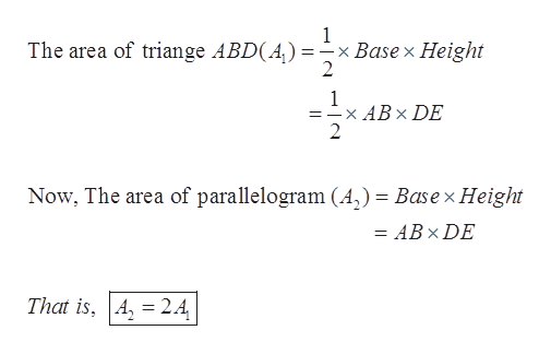 1 x Base x Height 2 The area of triange ABD(A) : 1 =-x ABx DE 2 Now, The area of parallelogram (A,) = Basex Height = ABx DE That is, A 24