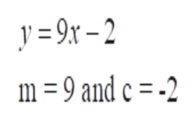 y =2x-2 m =9 and c = -2
