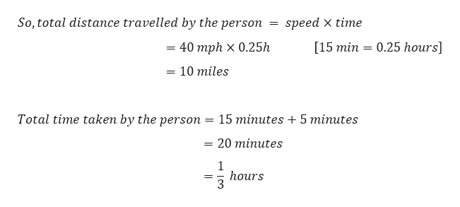 So, total distance travelled by the person speed x time [15 min 0.25 hours] 40 mph x 0.25h 10 miles Total time taken by the person 15 minutes 5 minutes 20 minutes = 1 hours 3 =