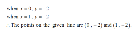 when x 0, y-2 when x 1, y-2 The points on the given line are (0, -2) and (1,-2)