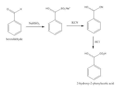 CN .So3 Na н NaHSO КCN benzaldehyde НСІ сон 2-hydroxy-2-phenylacetic acid