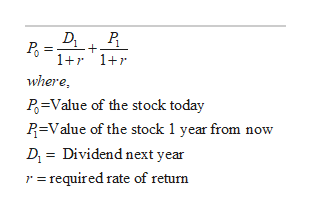 D+ 1+r1 where, P Value of the stock today R-Value of the stock 1 year from now Dividend next year Di r=required rate of return