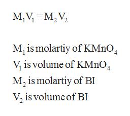 M,V M2 V Mi is molartiy of KMnO4 V is volume of KM1O4 M2 is molartiy of BI V2 is volume of B