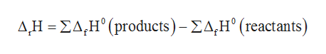 Δ.Η-ΣΔ,Η' (products ) -ΣΔ,Η' (reactants)
