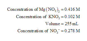 Concentration of Mg (NO), =0.416 M Concentration of KNO, 0.102 M Volume 255 mL Concentrati on of NO 0.278 M